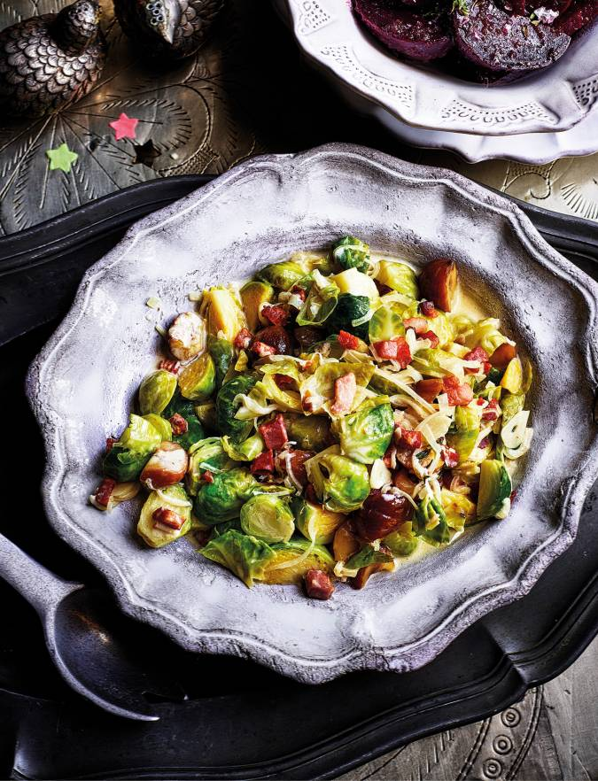 Recipe: Creamy sprouts with chestnuts and pancetta