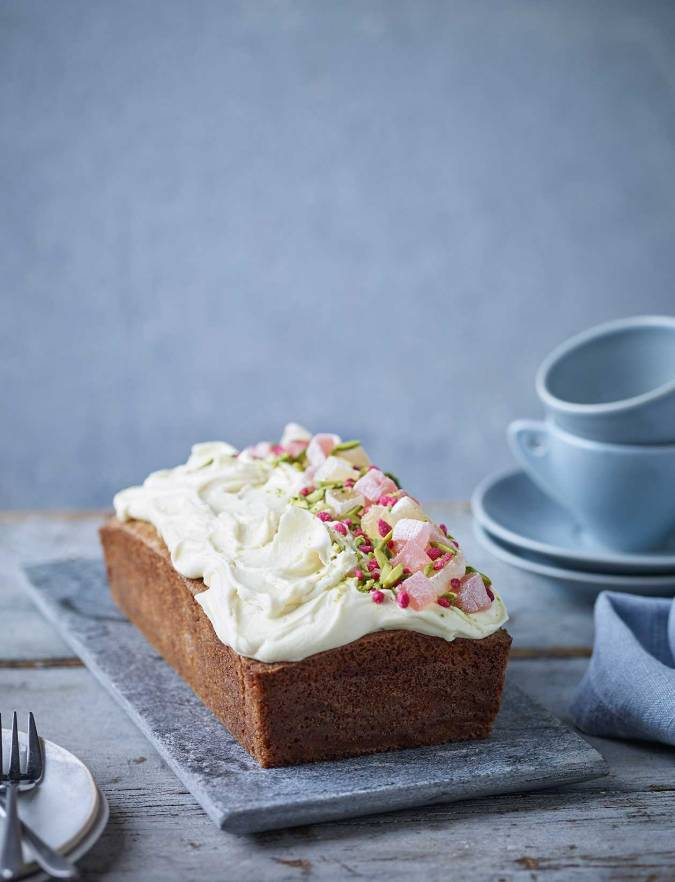 Recipe: Rose, pistachio and white chocolate loaf