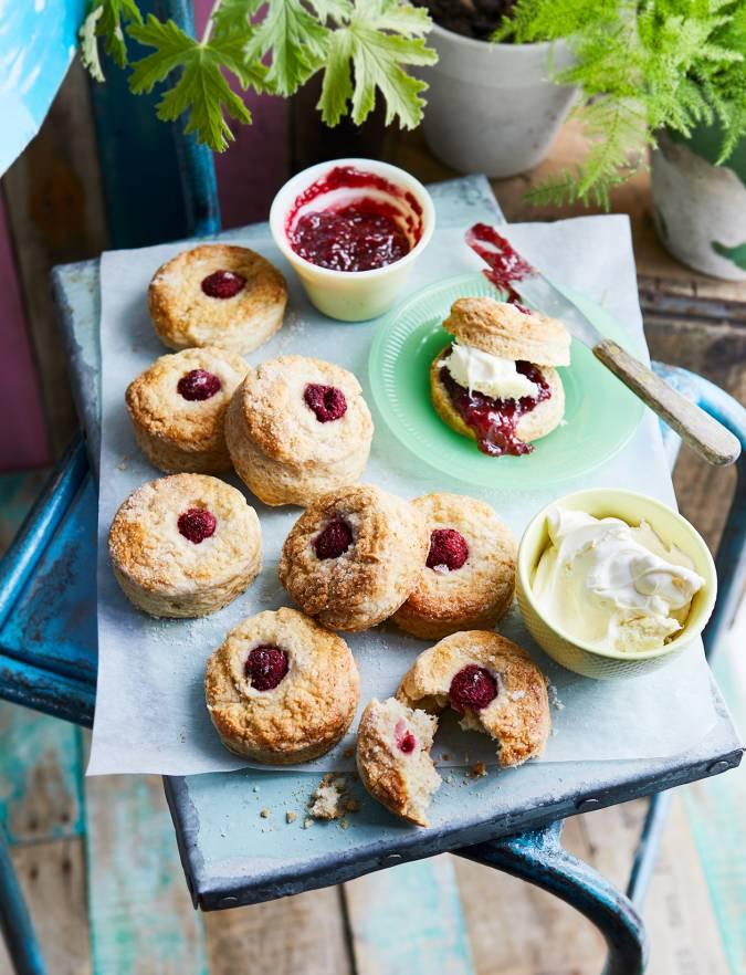 Double Raspberry And Clotted Cream Scones