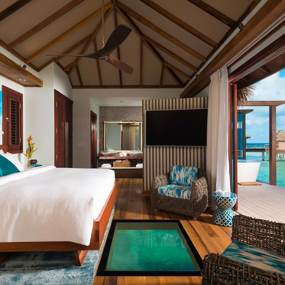 Sandals-Royal-Caribbean---Over-the-Water-bungalows---bedroom
