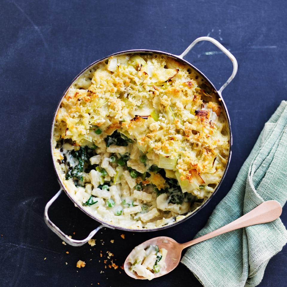 Green vegetables mac 'n' cheese