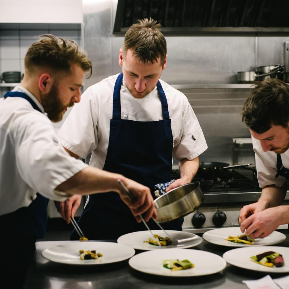 Head-chef-Stephen-Toman-plates-up-at-the-pass-at-OX-Northern-Ireland-food-and-drink--by-OX-head-chef-Stephen-Hazel-Paterson-Photography-22