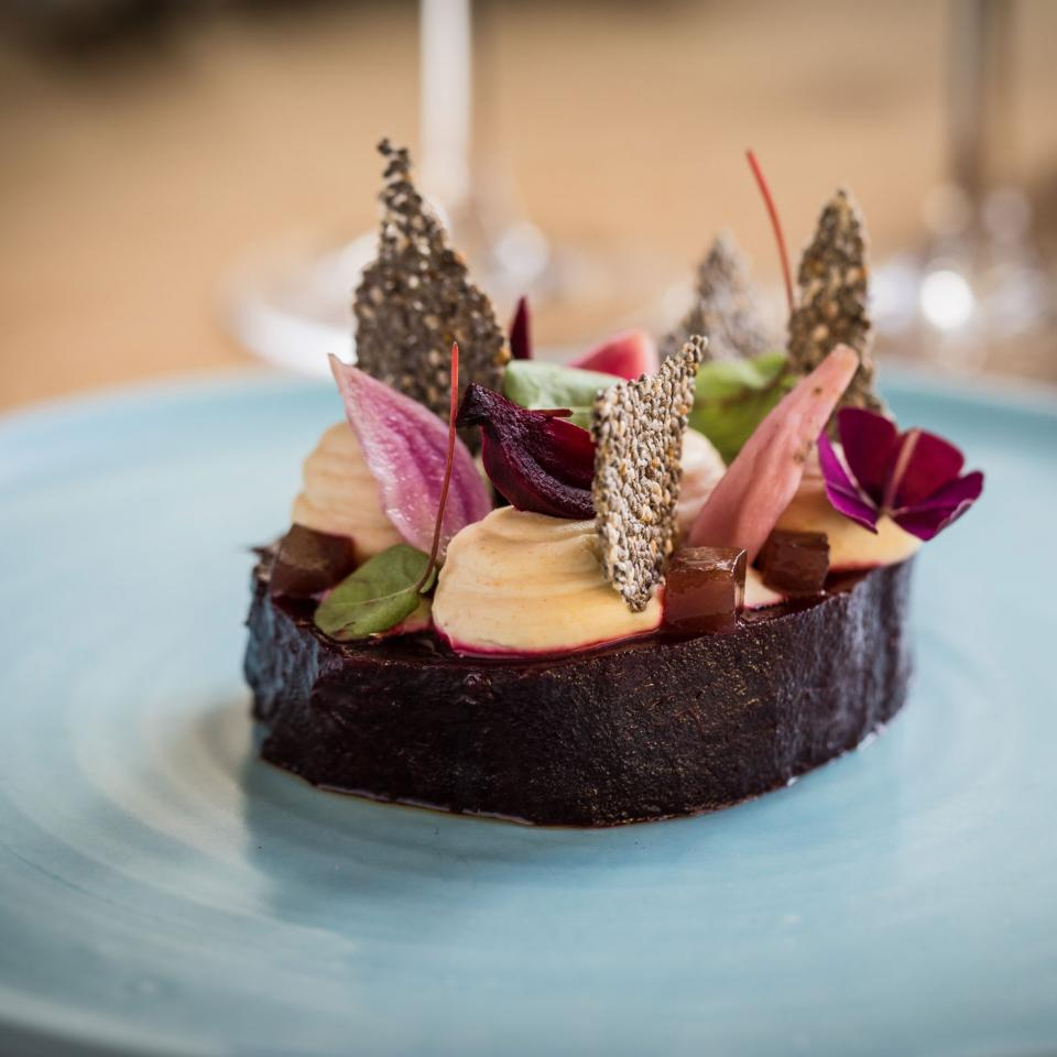 Mount-Haven---Restaurant---Slow-roasted-beetroot,-smoked-goats-cheese-custard,-horseradish,-damson,-chai-seeds---landscape---credit-Mike-Searle