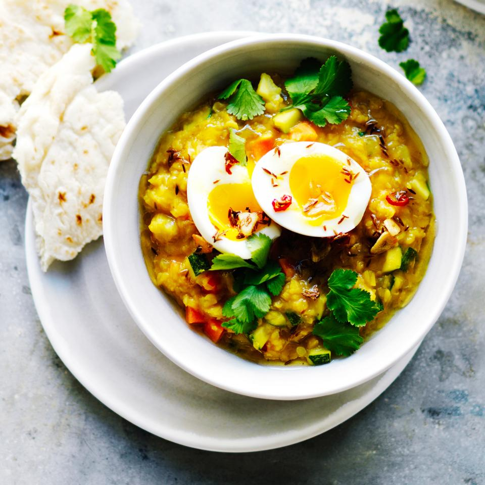Golden vegetable dhal with soft-boiled eggs