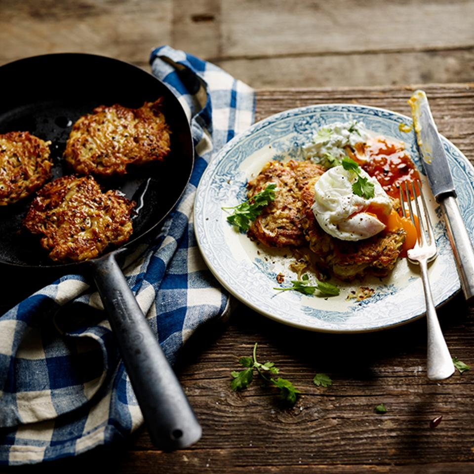 Indian-spiced celeriac rosti with herb yogurt