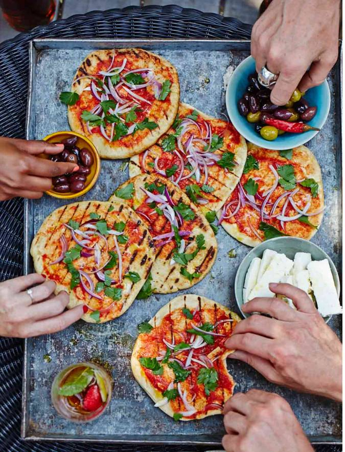 Tomato and red onion flatbreads