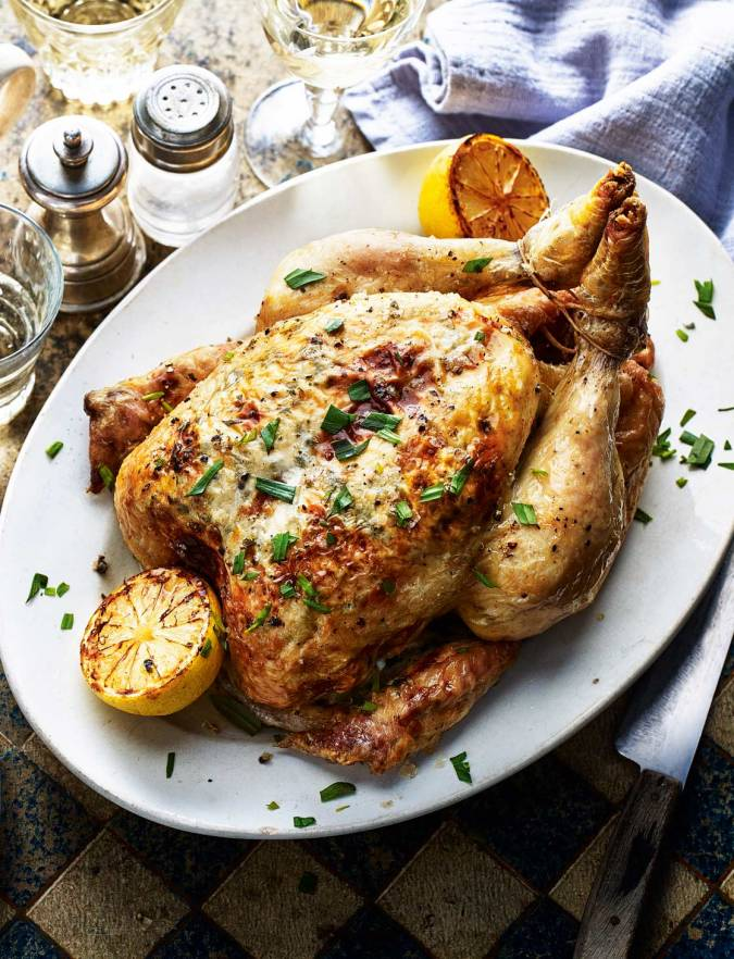Roast chicken stuffed with lemony goats' cheese and ...